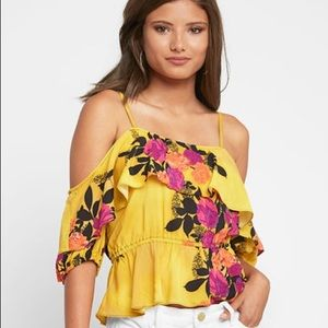 Gold Floral Tracy Reese cold shoulder top